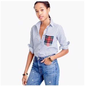 J Crew Striped boy shirt with tartan pocket Sz 16